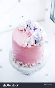 beautiful tender pink birthday cake meringue stock photo 368082026