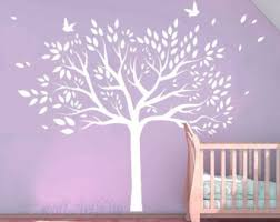 White Tree Wall Decal For Nursery Tree Wall Decals Nursery Cherry Tree Stencils Pink By Wallartdiy