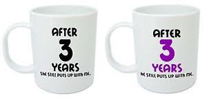 3rd year wedding anniversary gift after 3 years him mugs 3rd wedding anniversary gifts for