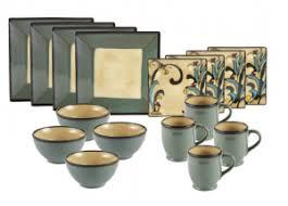 gourmet basics by mikasa belmont square blue leaves dinnerware