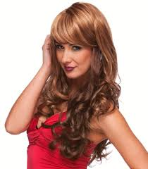blended curly wig with side swept bangs broadway