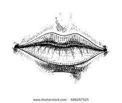hand drawn lips illustration white stock illustration