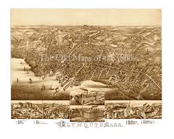 Plymouth Massachusetts Map by Plymouth Ma In 1882 Bird U0027s Eye View Map Aerial Map Panorama