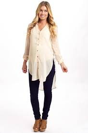 maternity blouse beige chiffon button up maternity blouse