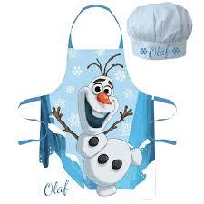 tablier et toque de cuisine olaf et toque pour enfant set cuisinier