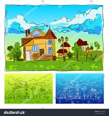 Landscape House Childrens Drawing Animated Vector Stock Vector