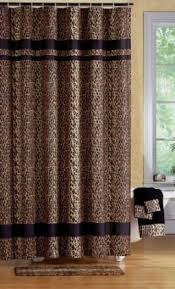 Leopard Curtains Beige Floral Shower Curtains Sets For Bathroom With Brown Cabinets