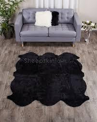 Rug Black Curly Shorn New Zealand Black Sheepskin Rug Sheepskin Town
