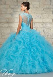 aqua quinceanera dresses quinceanera gowns style 89033 beaded tulle with a ruffled gown