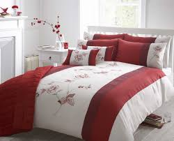 beautiful red colour embroidered faux silk duvet cover luxury bedding