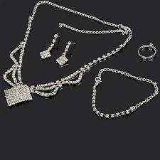 silver earrings bracelet set images Simple rhinestone square shaped necklace stud earrings bracelet jpg