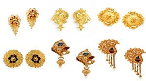 gold earring studs designs 22k gold light weight earring stud designs with weight