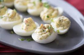deviled egg dish simple deviled eggs with garden vegetables lemonsforlulu