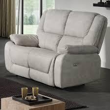 canapé 2places canape gris 2 places relax électrique en tissu sofamobili