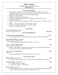 People Skills Resume Recreation Resume 2016
