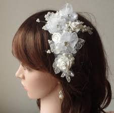 bridal flowers for hair ivory fascinator wedding hair clip flowers comb with rhinestones