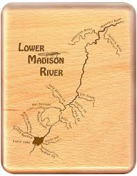 Montana River Map by River Map Fly Box Lower Madison River Handcrafted Custom