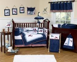 Navy Blue And White Crib Bedding Set Vintage Airplane Baby Boy Crib Bedding Set 9pc Nursery