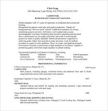 carpenter resume exle carpenter resume template 8 free word excel pdf format