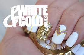 white negative space gold striping tape nail art tutorial video
