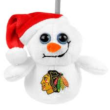 chicago blackhawks big eye plush snowman ornament you pin we