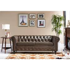 Chesterfield Leather Sofa by Home Decorators Collection Garrison Brown Leather Sofa 1600400820