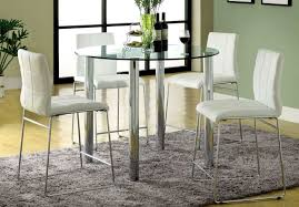 Modern High Kitchen Chairs Kitchen Sleek Round Glass Counter Height Table And Four Tall