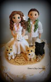 wedding cake topper custom cake topper bride and groom with pets