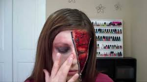 halloween zipper eye wound half zipper face tutorial youtube