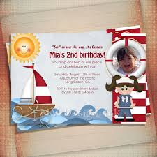 nautical sailboat birthday party invitation for boy or