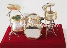silver miniature drum set ornament musical instrument