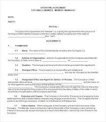 Single Member Llc Operating Agreement Template Free llc operating agreement template free single member llc operating