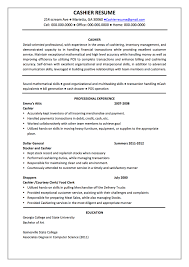 sample resume cashier responsibilities resume resume template