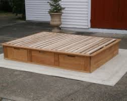Platform Bed Drawers Solid Platform Bed Etsy