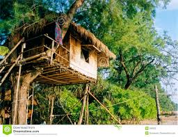 simple life treehouse beach resort thailand stock photography