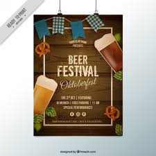 poster with wood background for oktoberfest vector free