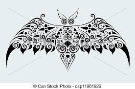 bat ornament vector bat drawing with floral ornament vector