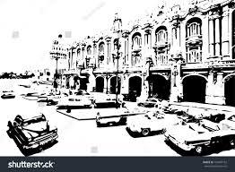 old cars black and white black white classic cars center havana stock vector 728407162
