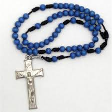 s tears rosary blue wood cord rosary metal crucifix immaculate center