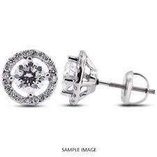 diamond stud earring 1 26 carat tw brilliant 14k white gold halo diamond stud