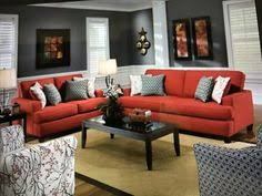 red sofa decor how to match a room s colors with bold fabric diana living rooms