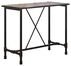 Black Bistro Table Caitlin Bar Table Rustic Oak And Black Finish Industrial