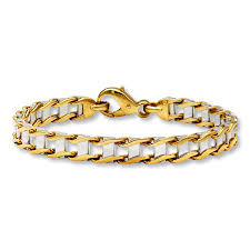gold man bracelet images Kay bold link men 39 s bracelet 10k two tone gold 8 75 quot length jpg