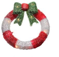 lighted tinsel wreath with bow window decoration