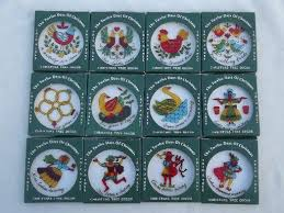 vintage hong kong plastic tree ornaments set twelve days of