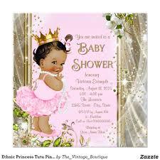 ethnic princess tutu pink gold baby shower card gold baby