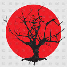 Hapanese Flag Stylized Asian Tree On Japanese Flag Royalty Free Vector Clip Art