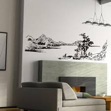 Chinese Style Home Decor Chinese Style Painting Mountain River Tree Wall Stickers Glass