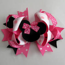 bow for hair pink minnie bow inspired hair bow