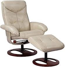 amazon com bonded leather recliner and ottoman taupe kitchen